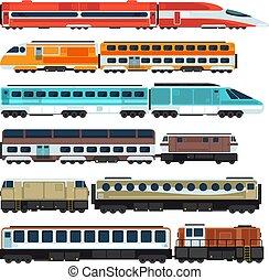 passageiro, vetorial, jogo, apartamento, carriages., trens, ferrovia, estrada ferro, transporte