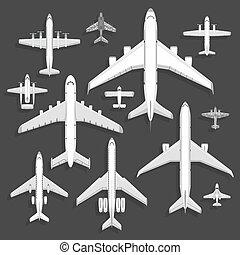 passageiro, vetorial, vôo, jato., viagem, topo, ícones, aviões, férias, ilustração, isolado, experiência., aeroporto, avião, turbina, vista, viagem, plane., transporte, piloto