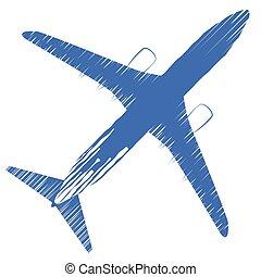 passageiro, vista., conceito, jato, avião., topo, comercial, isolado, ilustração, experiência., vetorial, linha aérea, branca, viagem, plane., avião, ícone