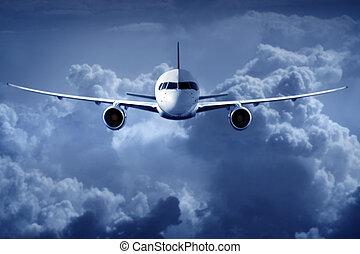 passageiro, voando, nuvens, airliner