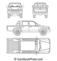 passageiros, car, ilustração, pickup, vetorial, 5, caminhão