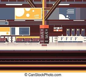 passageiros, conceito, transporte, não, vazio, plataforma, trem, metrô, fundo, interior, estação, estrada ferro, ou, transporte