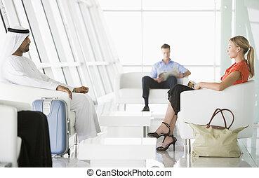 passageiros, esperando, em, aeroporto, lugar partida descanso