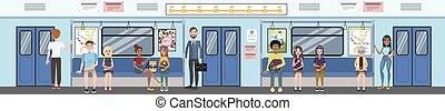 passageiros, metro, railway., trem, metrô, interior