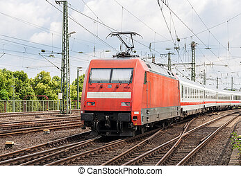 passager, électrique, cologne, train, allemagne, station, locomotive
