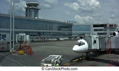 passager, aéroport, busses