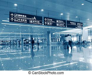 passager, aéroport, shanghai, pudong