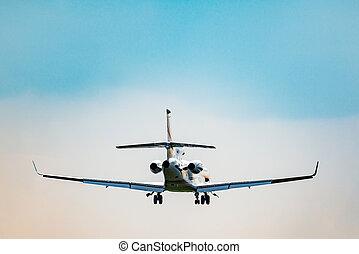 passager, atterrissage, avion, temps, petit, jour