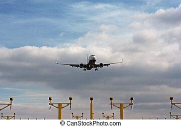 passager, atterrissage, lumières, avion, approche, final, vue