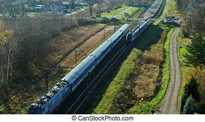 passager, autre, coup, dépassement, train, -, aérien
