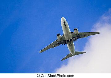 passager, avion, aéroport, approchant
