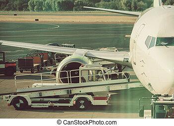 passager, avion commercial, avion, maintenance., aéroport.