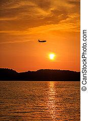 passager, avion, silhouette, coucher soleil, atterrissage