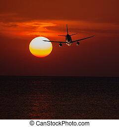 passager, b, soleil, altitude, voler, avion, coucher soleil, bas