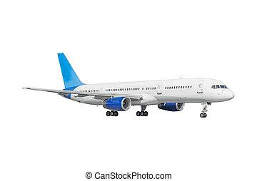 passager, commercial, isolé, fond, avion, blanc