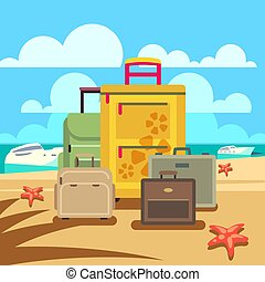 passager, concept, bagage, voyage, fond, plage