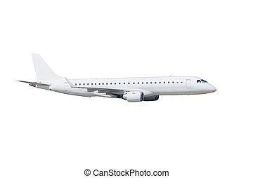 passager, couleur, isolé, arrière-plan., avion, blanc