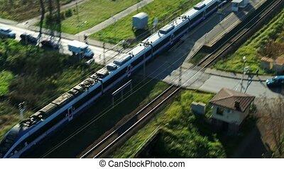 passager, coup, dépassement, train, -, aérien, station