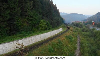 passager, diesel, rural, train, passes, yaremche, ukraine