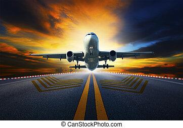 passager, fermé, jet, pistes, aéroport, avion, prendre, w, préparer