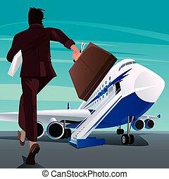 passager, hâte, avion, homme affaires