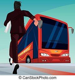 passager, hâte, homme affaires, autobus