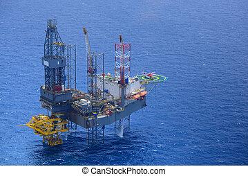 passager, huile, rig., haut, cueillir, hélicoptère, mer