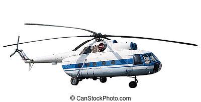 passager, isolé, hélicoptère