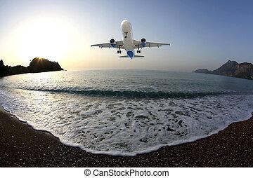 passager, mer, atterrissage, rivage, avion, fond, aube