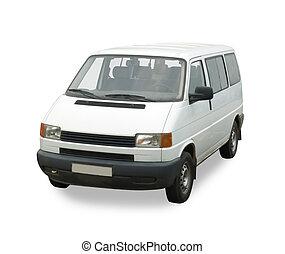 passager, minibus, isolé, white., coupure, whith, sentier, ...