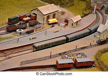 passager, modèle, vert, train, voitures