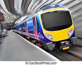 passager, moderne, mouvement rapide, train, barbouillage