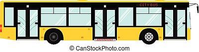 passager, municipal, transport., public, moderne, isolé, côté, arrière-plan., vecteur, bus., transport:, blanc, ville, urbain, vue