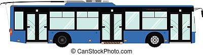 passager, municipal, urbain, moderne, trolleybus., isolé, public, arrière-plan., vecteur, ville, transport:, blanc, transport., vue côté