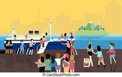 passager, occupé, mer, activités, gens, voyage, entrer,...