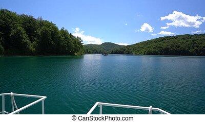 passager, parc national, lac, plitvice, croisement, pendant, bateau, vue