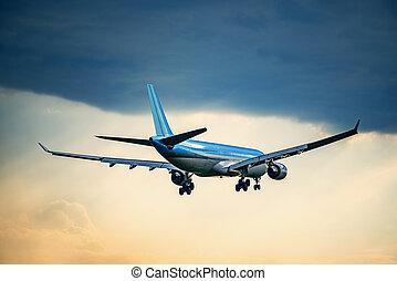 passager, plane., atterrissage