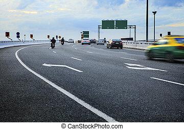passager, pont, voiture, en mouvement, motocyclette, manière...