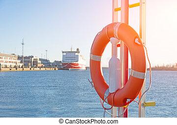 passager, port, paquebot, bay., lifebuoy, fond, jetée