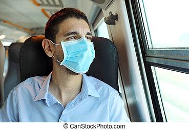passager, regarder, protecteur, fenêtre., transport., chirurgical, public, voyage, train, homme, sans risque, par, masque, jeune