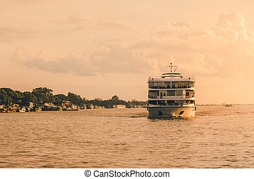passager, rivière, myanmar, (burma), bagan, irrawaddy, river), bateau, (ayeyarwady