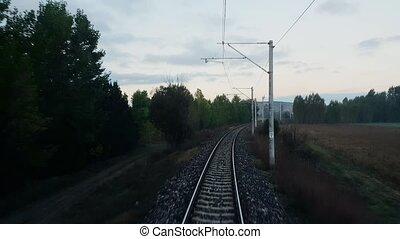 passager, scène, fenêtre, train, par, rural