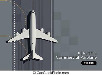 passager, sommet, commercial, vecteur, avion, vue