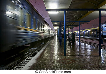 passager, station, train