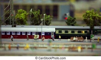 passager, station, train, plat