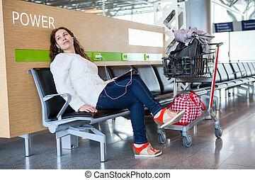 passager, tablette, bagage, dépenser, transit, temps, salon, pc, aéroport, hand-cart