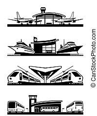 passager, terminaux, transport