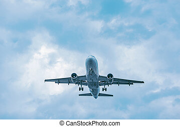 passager, time., atterrissage, avion, coucher soleil