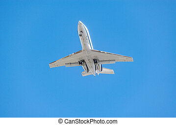 passager, time., avion, jour, atterrissage