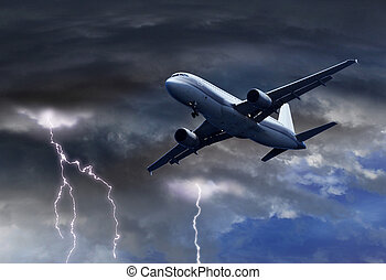 passager, tonnerre, avion air, orage, approchant